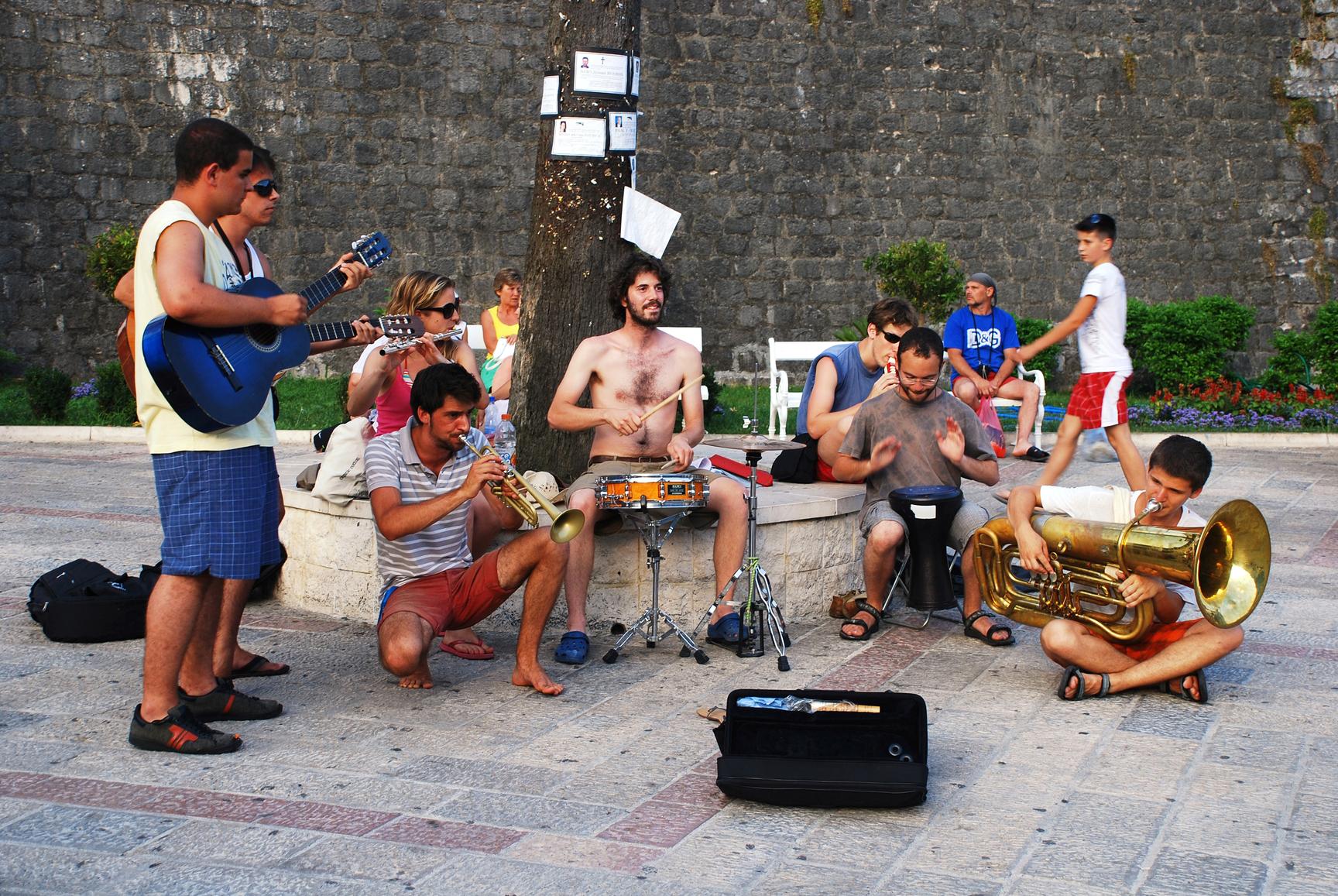 Street Musicians playing in Kotor, Montenegro